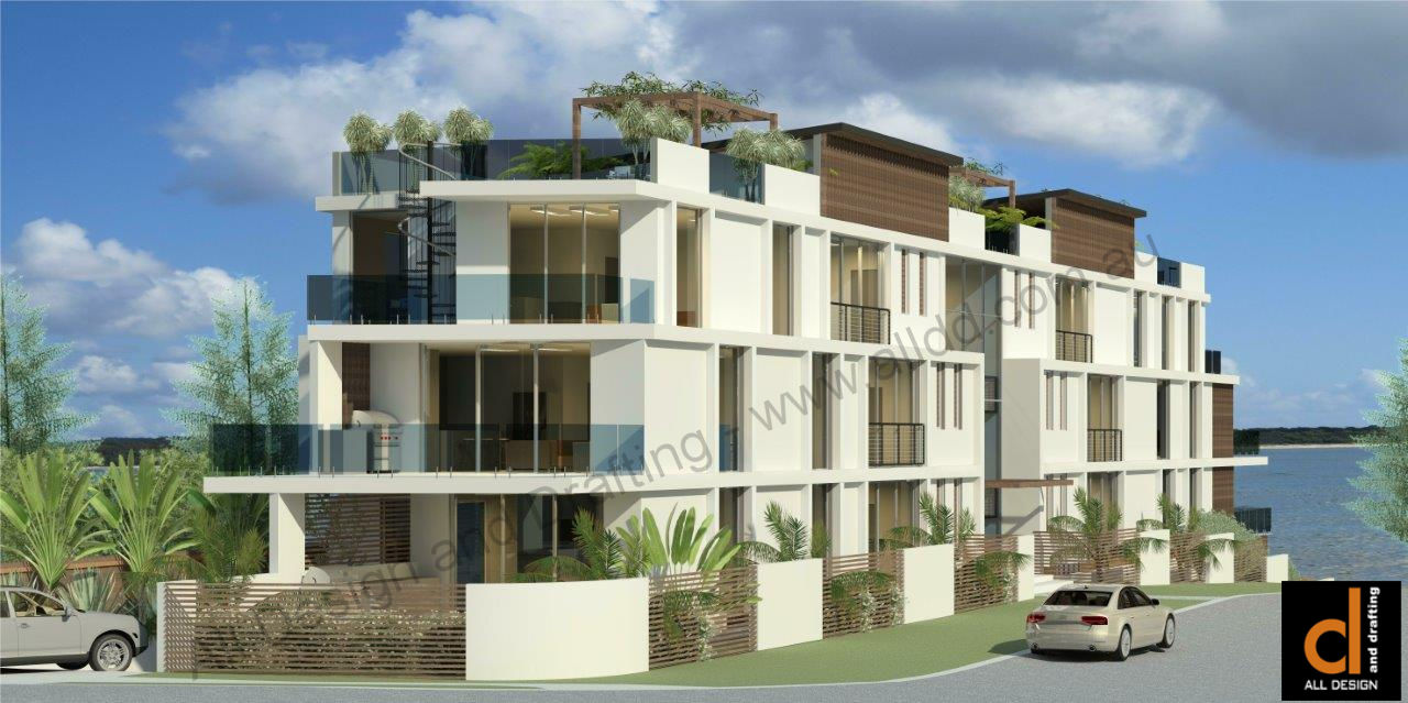 waterfront multi-unit development at Redcliffe Queensland street view