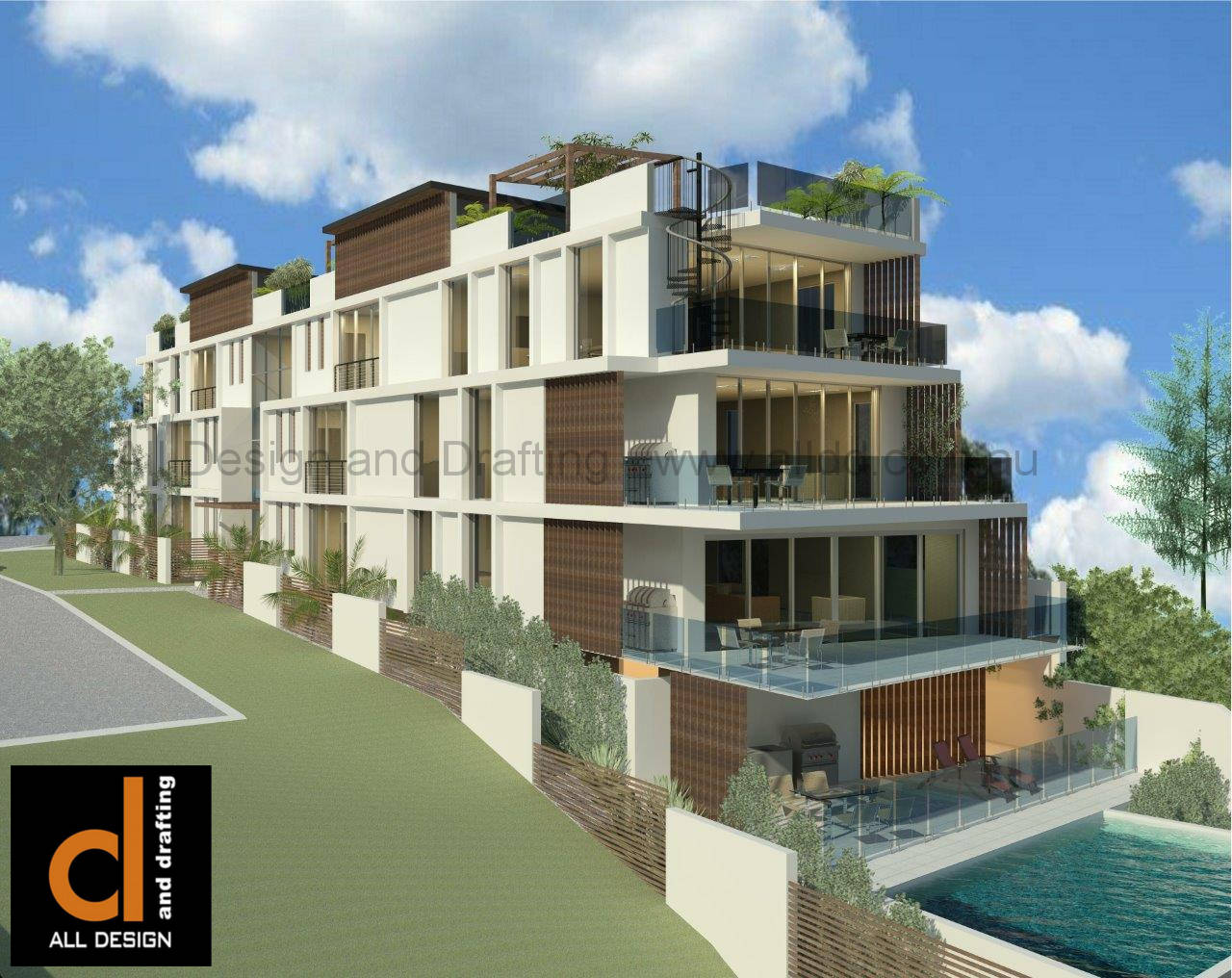waterfront multi-unit development at Redcliffe Queensland waterside view